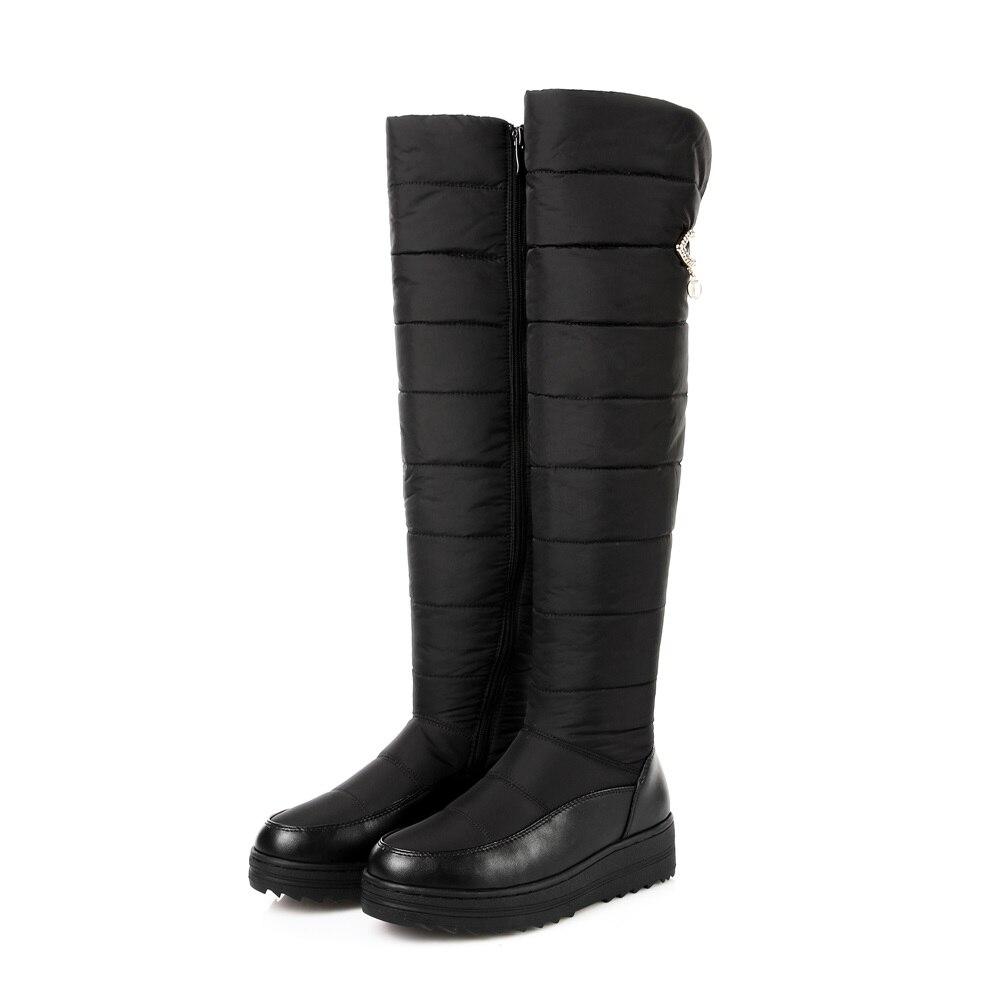 ASUMER 2018 neuf de haute qualité vers le bas chaud neige bottes femmes bout rond plate-forme cuisse haute bottes de mode fermeture éclair sur la genou bottes - 2