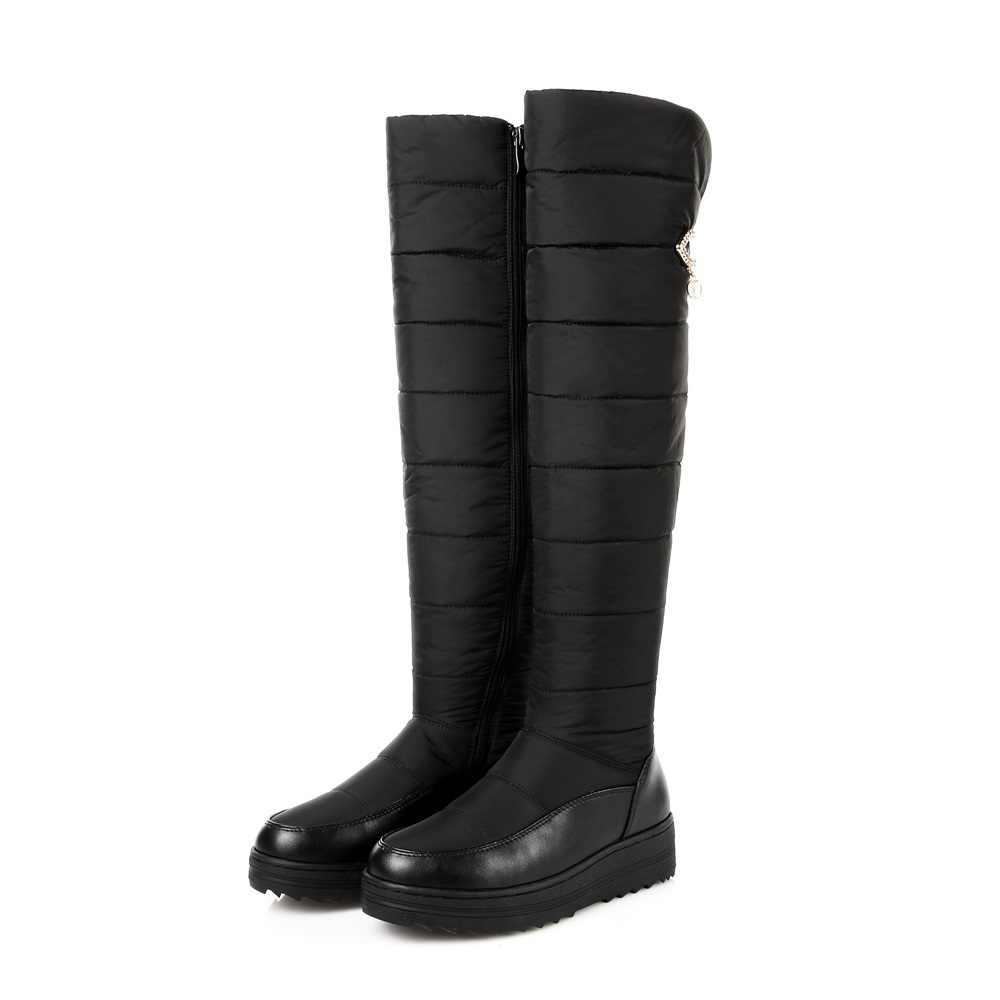 ASUMER 2019 nuevo alta calidad abajo caliente botas de nieve mujeres plataforma muslo alto botas señoras cremallera invierno zapatos sobre la rodilla botas