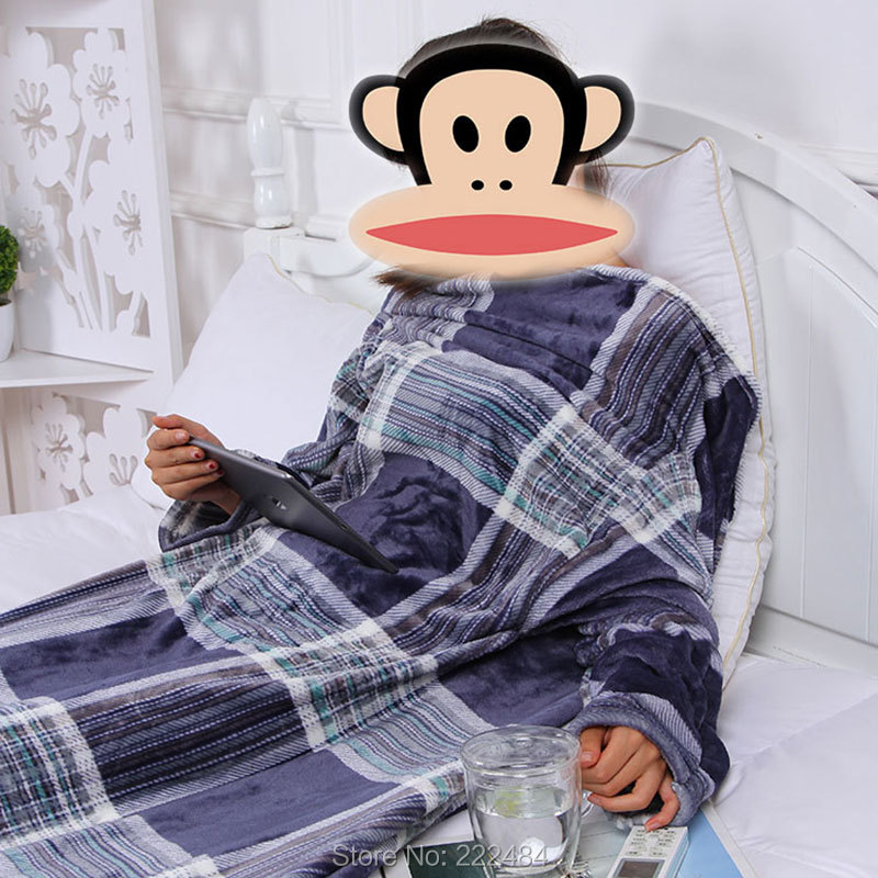 Thick Fleece Throw Blanket With Sleeves Cozy Travel Plaids Couette