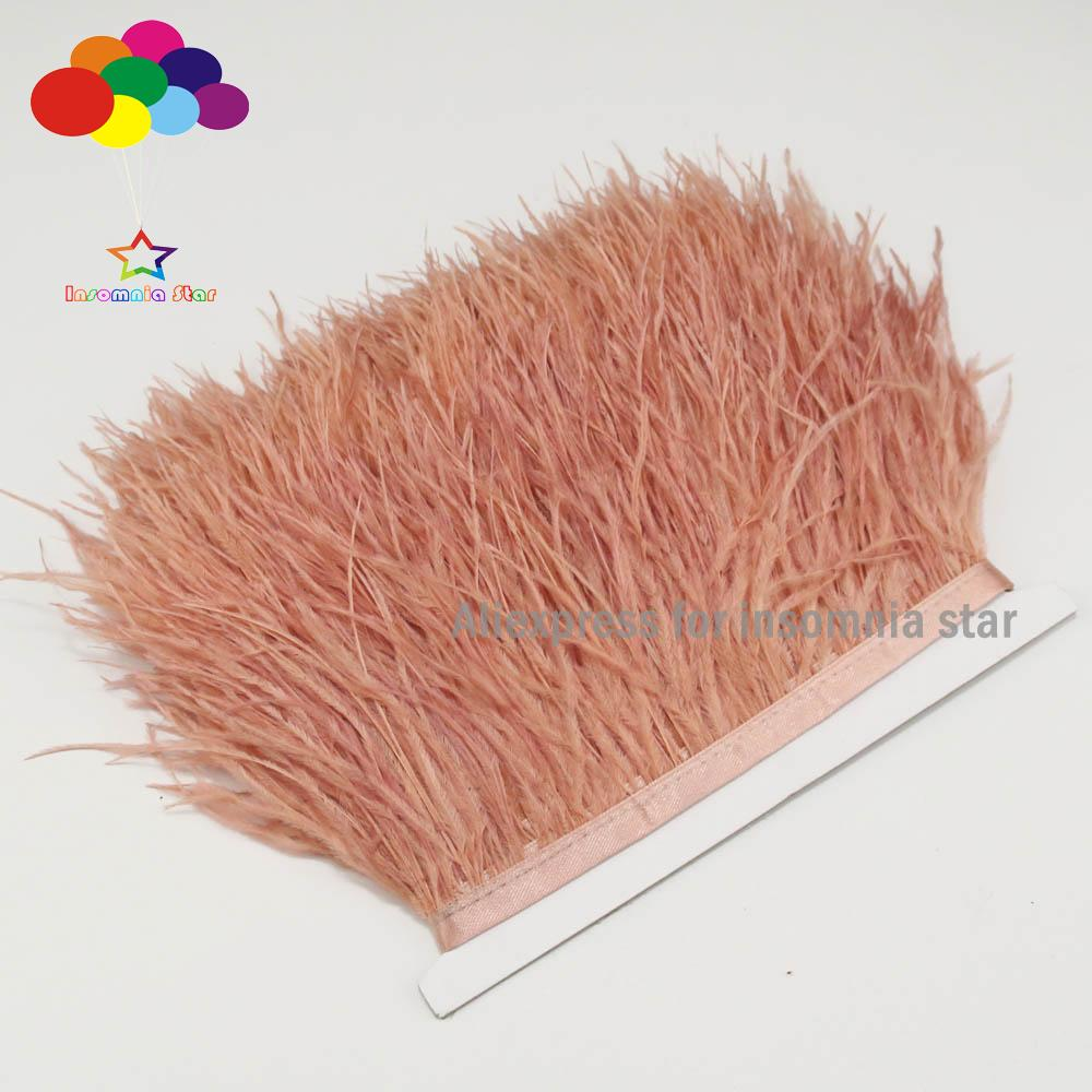 White Ostrich Feather Trimming Fringe with Satin Ribbon Tape 8-10 Cm