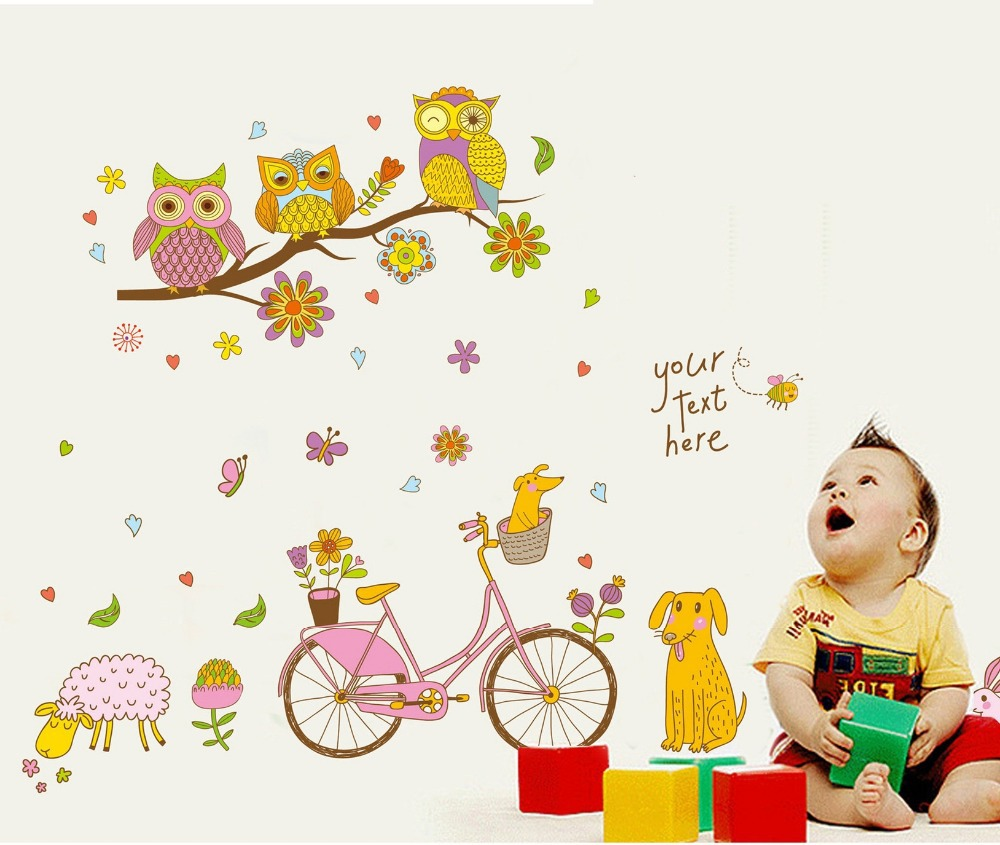 Happy candy color owl tree bicycle wall stickers dog sheep bike happy candy color owl tree bicycle wall stickers dog sheep bike vinyl wallpapers decal kids girls child home room bedroom decor in wall stickers from home voltagebd Gallery