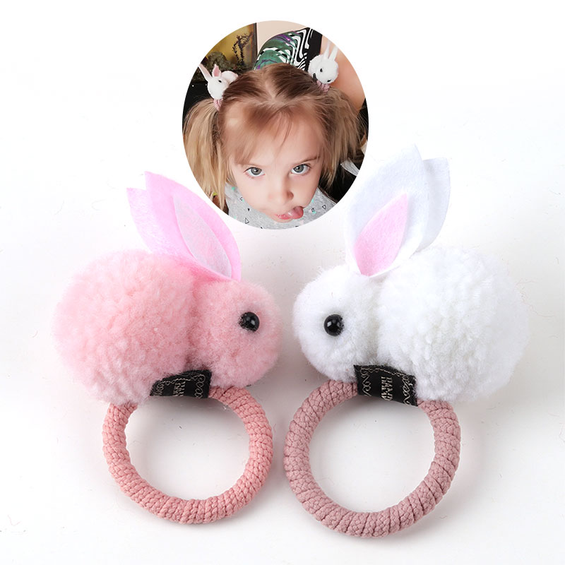 Cute Hair Ball Rabbit Hair Ring Female Tie Rope Korean Version Of The Headwear Rubber Band Hair Rope Children's Hair Accessories