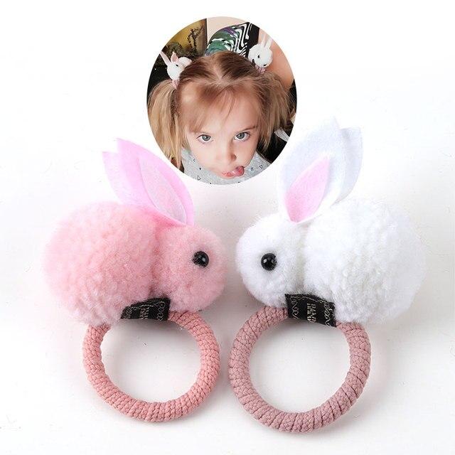 Bonito anel de cabelo bola de cabelo de coelho fêmea tie rope versão Coreana do headwear corda cabelo elástico das crianças acessórios para o cabelo