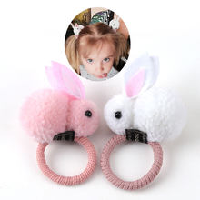 Cute hair ball rabbit hair ring female tie rope Korean version of the headwear rubber band hair rope children's hair accessories(China)