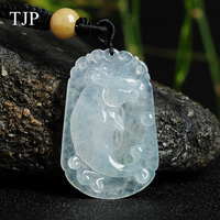 Fine carving Emerald Dragon fish Natural amulet jewelry locket woman man pendant chain WY4216 Free shipping