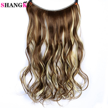 SHANGKE 24 invisible Wire Sin clips en extensiones de cabello Secret Fish Line Hairpieces Silky Wavy Synthetic Heat Resistant