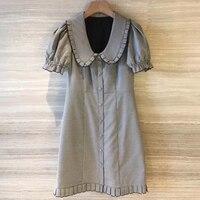 Womens Summer Print Mini Dresses Fashion 2018 Plaid Dress Short Sleeve Female Puff Sleeve Dress Vintage A line Dress Ruffles