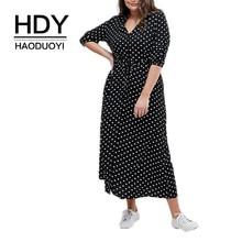 HDY Haoduoyi 2019 New Elegant Party Dress Dot Printing V-neck Tie Waist Slim Large Plus Size Casual Female Summer Vestido
