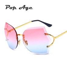 Pop Edad Al Por Mayor Nuevo Mejor calidad Sin Montura gafas de Sol de Metal Diseñador de la Marca gafas de Sol Gafas de Sol (un lote 3 Unidades)