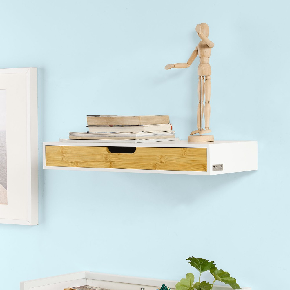 SoBuy Wall Floating Shelf With Drawer Shelf Storage Display Shelving FRG93-WN