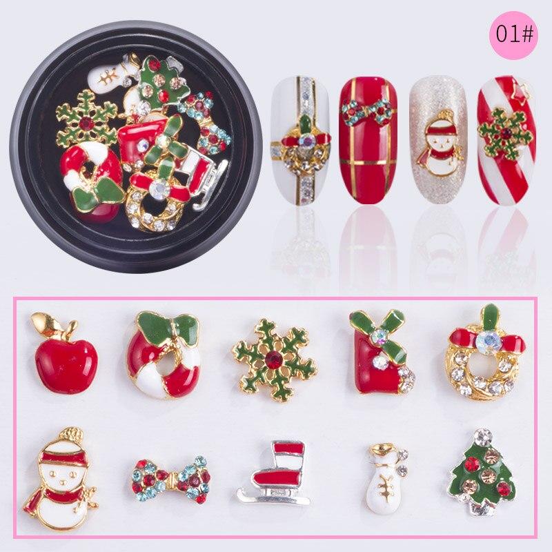 NEWBY-10-Designs-box-Alloy-Metal-Christmas-Snowman-Nail-Art-Decorations-Charms-DIY-3D-Nail-Rhinestones (4)