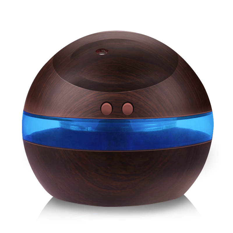 USB Ultrasonic Humidifier, 300ml Aroma Diffuser Essential Oil Diffuser Aromatherapy Mist Maker With Blue LED Light (Dark Wood)