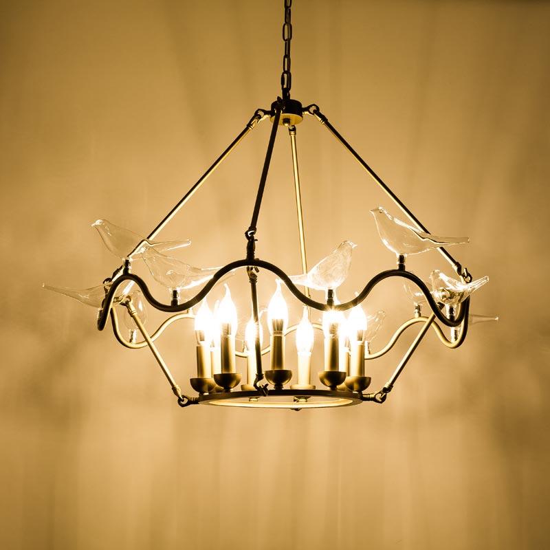 Modern Lustre Copper Chandelier Lighting Glass Birds Lamp Living