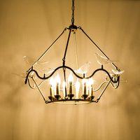 Modern Lustre Copper Chandelier Lighting Glass Birds Lamp Living Room Kitchen Bedroom Foyer Home Decor Light Fixtures Metal E14