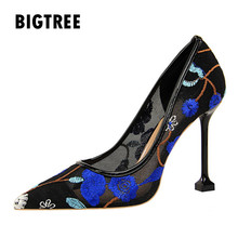 New 2019 Spring Summer shoes woman Luxury embroidery pointed