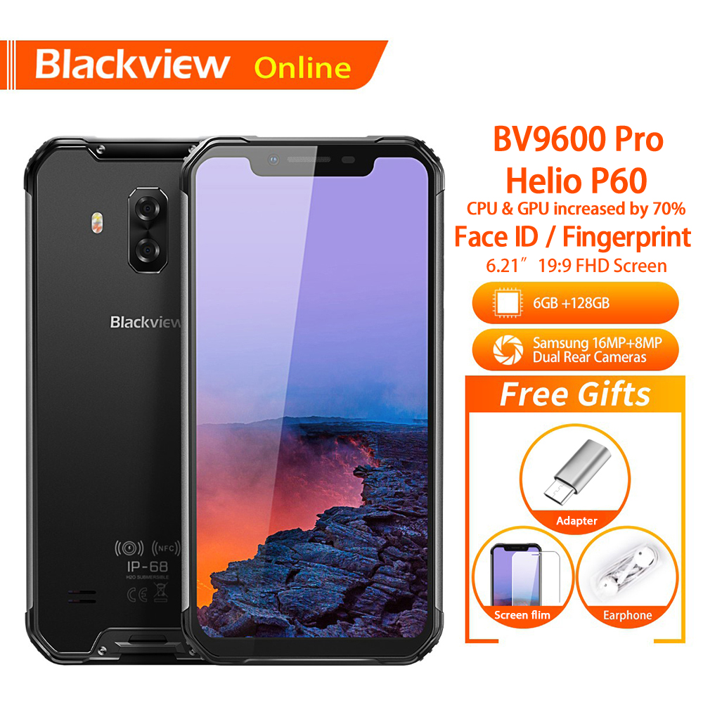 Blackview BV9600 Pro Original 6.21Waterproof Rugged Mobile Phone 19:9 AMOLED Android 8.1 6GB+128GB 5580mAh Outdoor SmartphoneBlackview BV9600 Pro Original 6.21Waterproof Rugged Mobile Phone 19:9 AMOLED Android 8.1 6GB+128GB 5580mAh Outdoor Smartphone