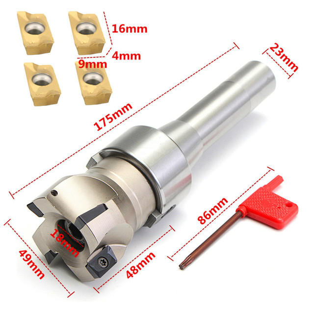 1pc 50mm 400R Face End Mill Cutter + R8 FMB22 Arbor + 4pcs APMT1604 Carbide Inserts with Wrench and Box Sets