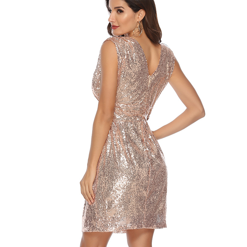 Silver Knee Length V-Neck Sequin Dress