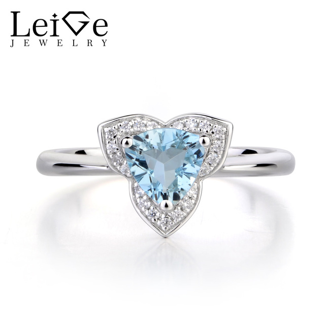leige jewelry natural real aquamarine wedding rings 925 sterling silver ring march birthstone trillion cut blue - Aquamarine Wedding Ring