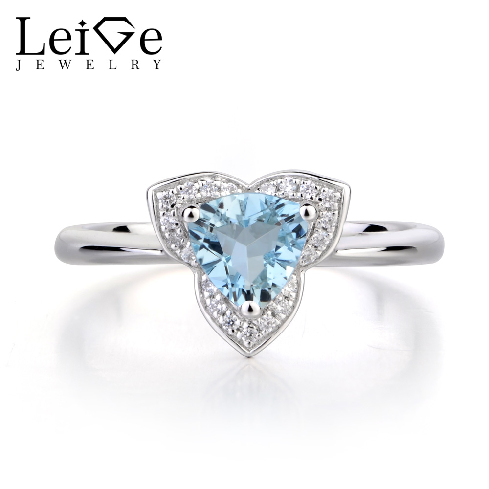Leige Jewelry Natural Real Aquamarine Wedding Rings 925 Sterling Silver Ring March Birthstone Trillion Cut Blue Gemstone Ring