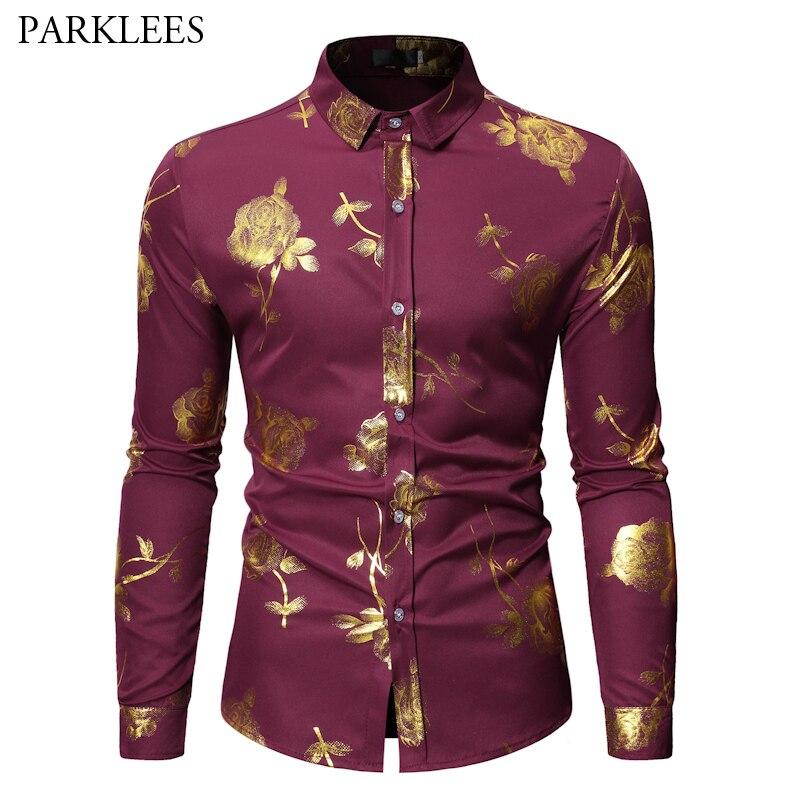 Luxury Gold Floral Bronzing Print Dress Shirt Men 2019 Brand New Long Sleeve Camisa Masculina Party Wedding Tuxedo Shirt For Men