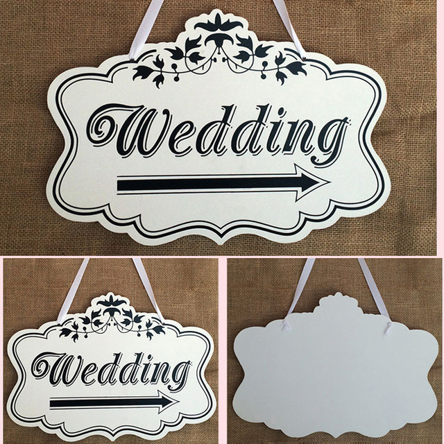 Us 1699 Large Vintage Wedding Sign Wooden With Wedding Letters And Arrow For Customers Directions Creative Wedding Party Direction Signs In