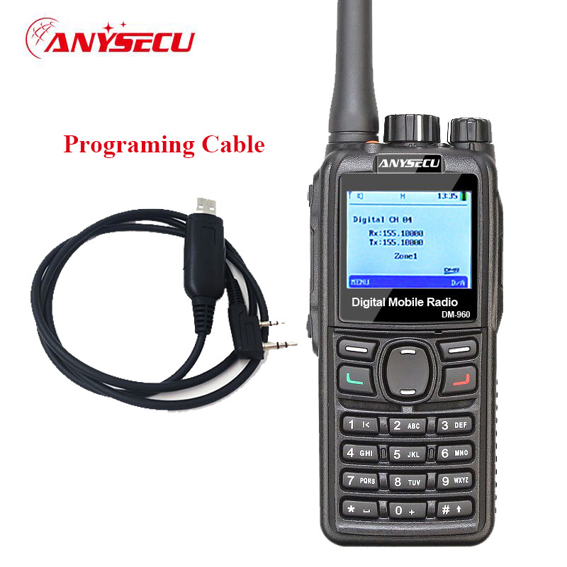 +cable! Dual Mode TDMA digital/Analog DMR Radio Anysecu DM-960 VHF 3000mAh Compatible with MOTOTRBO better than TYT MD380/MD390+cable! Dual Mode TDMA digital/Analog DMR Radio Anysecu DM-960 VHF 3000mAh Compatible with MOTOTRBO better than TYT MD380/MD390
