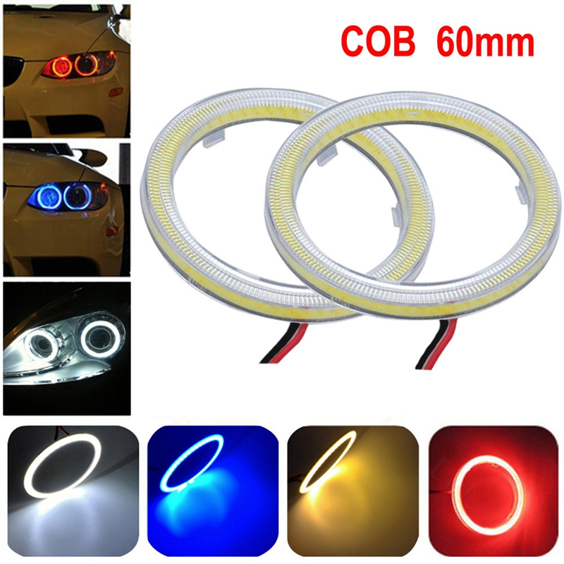 2pcs white 60MM COB universal LED angel eye headlamps super bright COB ring light ring ring with capped warning light@11202@@@ ownsun innovative super cob fog light angel eye bumper cover for skoda fabia scout