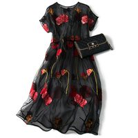 Shuchan Thin Embroidery Floral Summer Dress Natural Silk Loose O Neck Womens Clothes High Quality Vestido Noche Tallas Grandes
