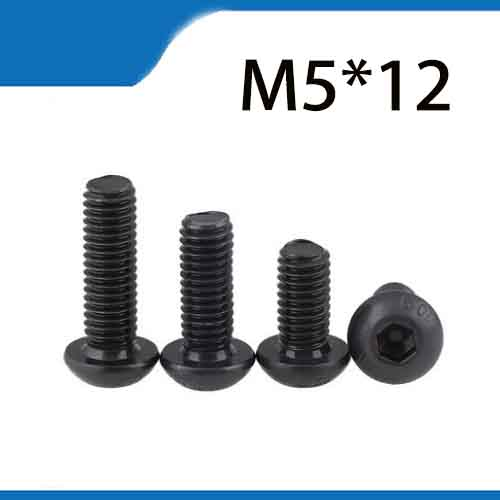 Free Shipping 100pcs M5x12 mm M5*12 mm yuan cup Half round pan head black grade 10.9 carbon Steel Hex Socket Head Cap Screw 20pcs m3 6 m3 x 6mm aluminum anodized hex socket button head screw