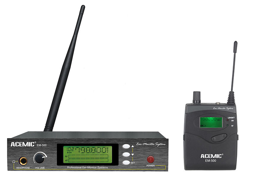 798-830MHz ACEMIC EM-500 FM 100M UHF 928MHz LCD Pro Mic Wireless In Ear Monitor System