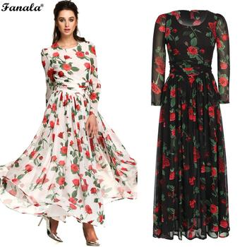 Dress Women Fashion Print Casual Long Sleeve Chiffon Maxi Pleated FINEJO floral chiffon dress long sleeve
