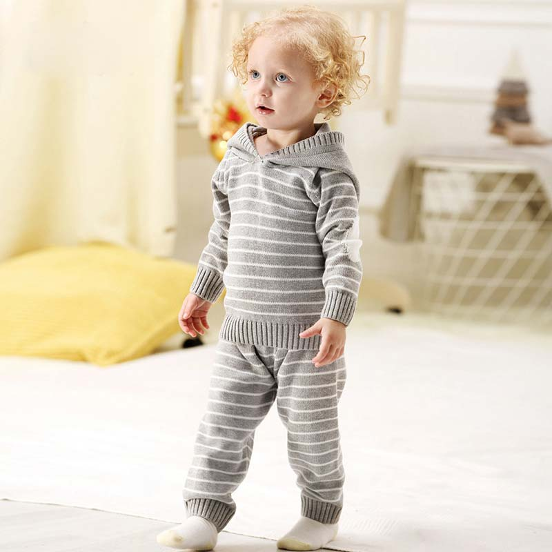 New Baby Girl Autumn Knitted Set Toddler Boy Striped Hooded Sweater+Elastic Waist Pants Warm Sport Suit 12M-3Y Kids Clothes Sets men elastic waist drawstring striped pants