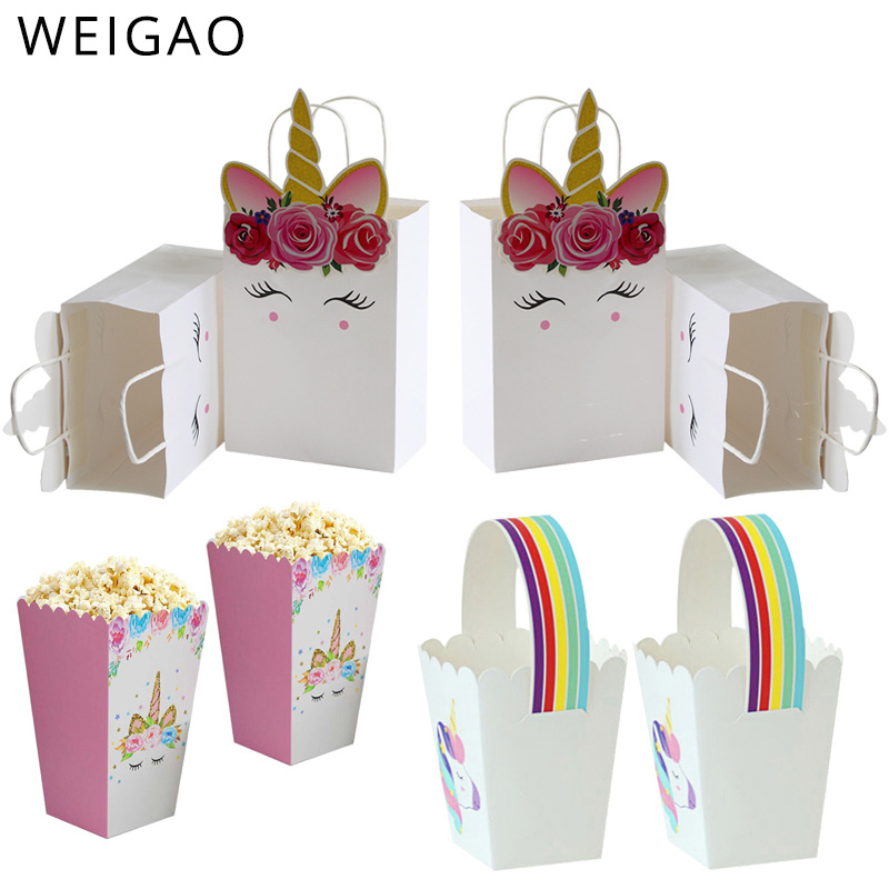 WEIGAO Unicorn Party Favor Gift Bags Unicorn Design Reusable Gift Tote Bags Goodie Gift Toy Treat Bags For Kids Birthday Party