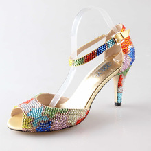 Handmade rainbow color rhinestone crystal D'orsay bridal shoes tropical theme wedding heels open peep toe party prom shoes