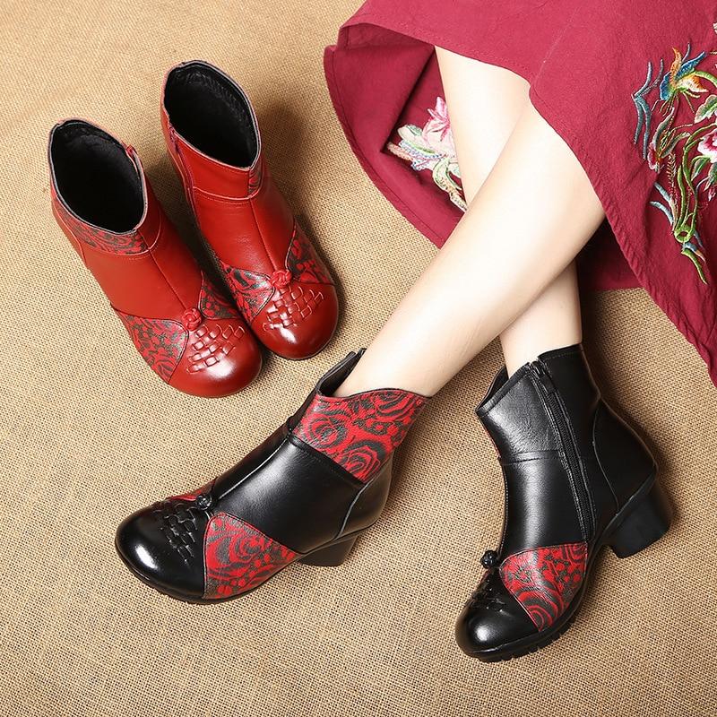 Femmes Impression Et Noir Chaussures Femme Automne Non Main En Rétro Confort Cuir slip Bottes À 2018 Nouveau D'hiver La Cheville rouge Véritable 6fb7gy