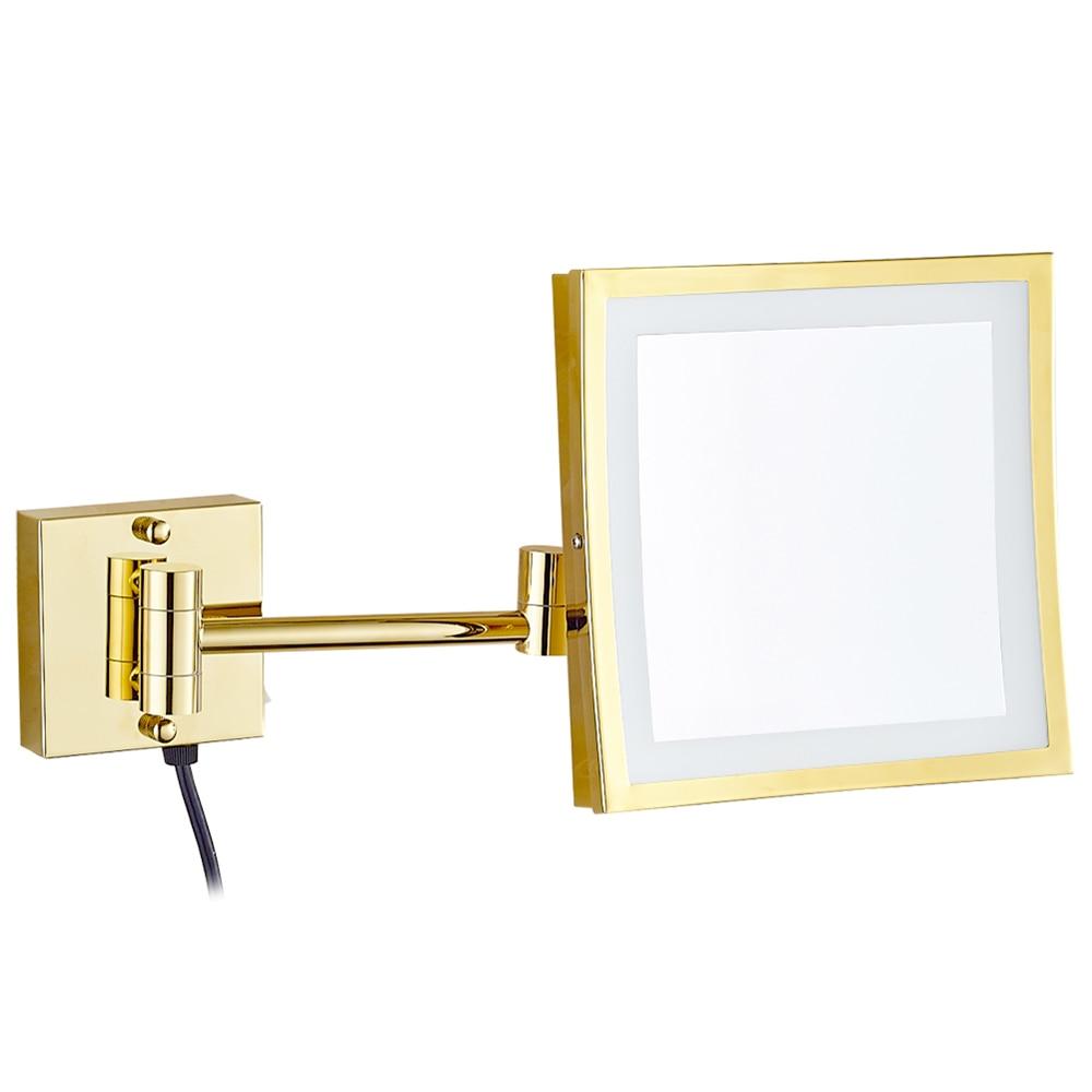Плошча люстэрка для макіяжу 3X Павелічальныя адну боку з 50 LED Light / лямпы для касметычных і скуры Сыходу і галення, паліраванага Gold M1802DJ
