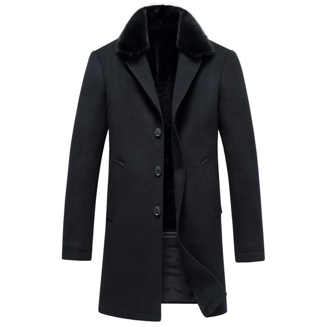 Homens do novo fundo de 2016 invernos do outono longo mink gola de pele de moda casaco de lã dos homens de negócios desgaste um casaco