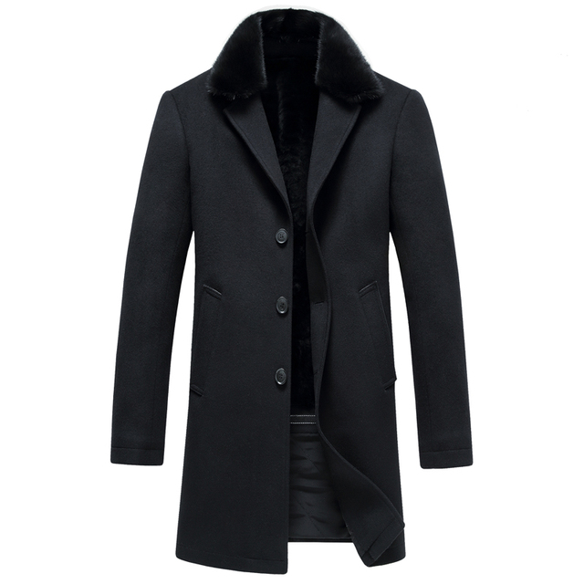 Men of new fund of 2016 autumn winters long mink fur collar fashion wool coat business men's wear a coat