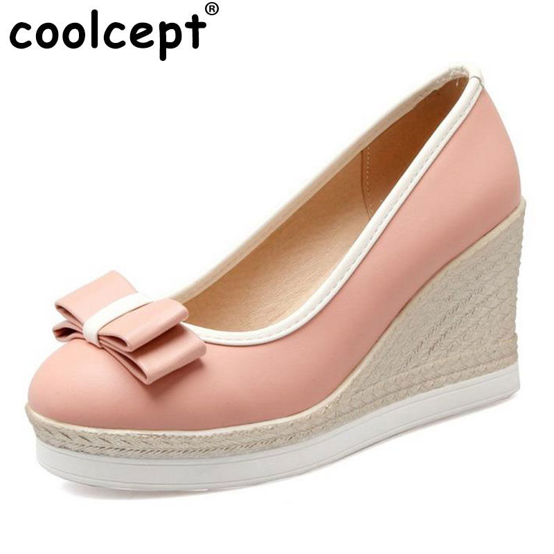 Coolcept Classic Women Wedges High Heels Platform Round Toe Pumps Women Girls Bowtie Slip on Zapatos Mujer Shoes Size 33-43 2017 shoes women med heels tassel slip on women pumps solid round toe high quality loafers preppy style lady casual shoes 17
