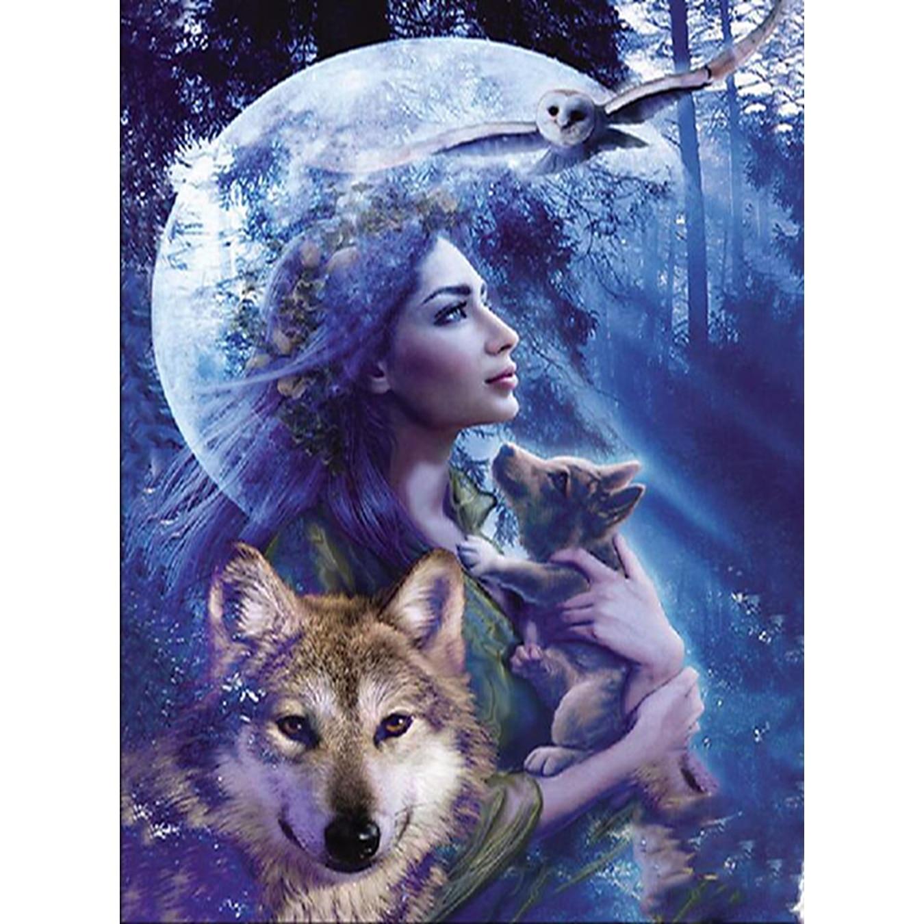 늑대 앤 레이디, 다이아몬드 페인팅, 바느질 작업, - 예술, 공예, 바느질