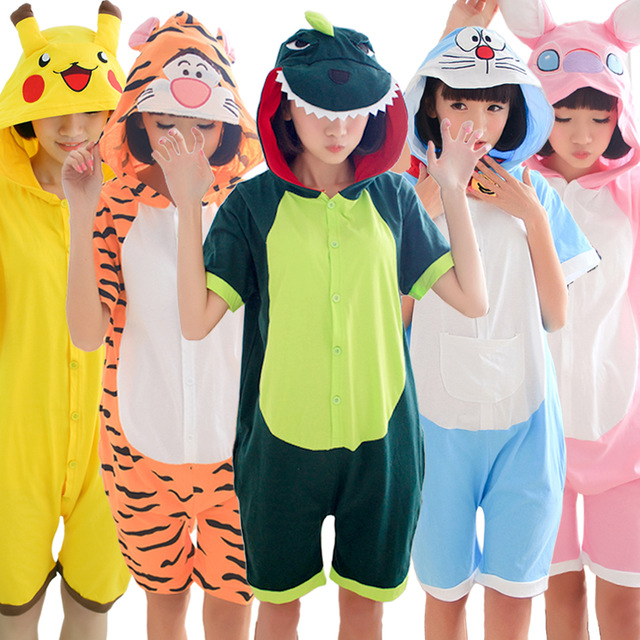 All in One 100% Cotton Anime Pajamas Cartoon Cosplay Warm Hood Onesies Sleepwear Adult Unisex Homewear Cute Animal Pajamas