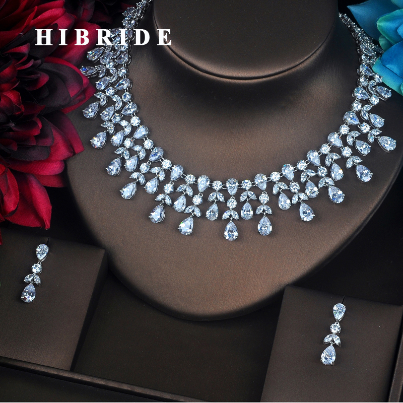 HIBRIDE Luxury Design Jewelry Water Drop Full Z Stone Jewelry Sets For Women Necklace Set Wedding Bride Dress Accessories N-375 be8 luxury red water drop pendant jewelry set for women 5 colors bohemia necklace earring sets bridal dress accessories s 024
