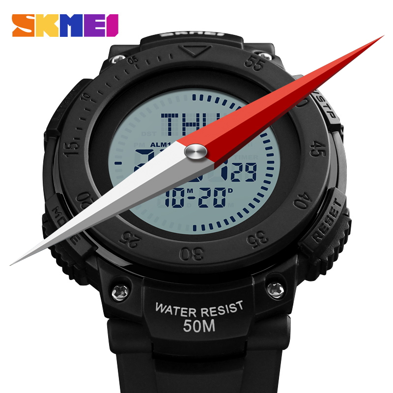 <font><b>SKMEI</b></font> Compass Digital Wristwatches Men's Multi-function Waterproof Outdoor Sports Electronic Military Army Watch Relogio image