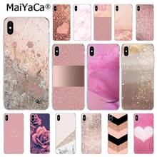 MaiYaCa Love Heart Gold Rose Marmer Strepen Case Voor iphone 11 Pro 11Pro MAX 8 7 6 6S Plus 5 5S SE XR X XS MAX 10 Coque Shell(China)