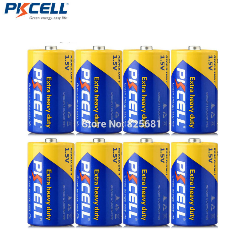 8PCS PKCELL D UM1 <font><b>R20</b></font> R20P 1.5V Zinc Carbon <font><b>Batteries</b></font> Single Use Batteria For Walkman Toys Watches And Clocks Wireless Mouseand image