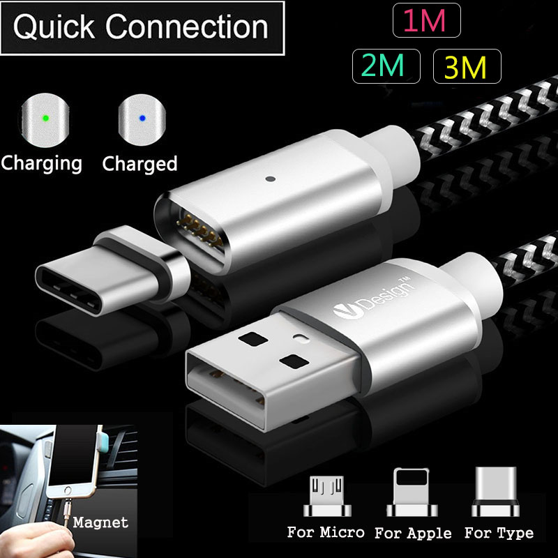 Galleria fotografica 3/6/10FT LED USB Type C/Micro USB/IOS Magnetic Cable Type-C Quick Connector Adapter Cable For Samsung S9 S8 S7 For iPhone X 8 7