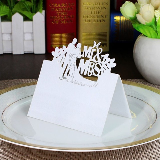 Wedding Card 100 Pcs Heart Butterfly White Place Cards Birthday Party Table Centerpieces Decoration Craft Festive Event Supplies