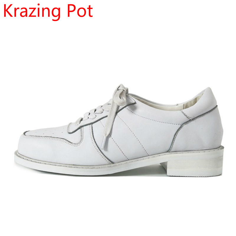 Fashion Shoes Woman Full Grain Leather Lace Up Square Toe Preppy Style Thick Heels Casual Leisure White Color Casual Shoes L16 стоимость
