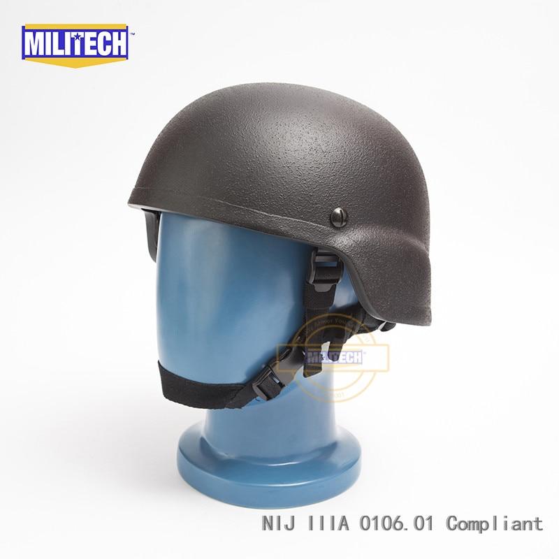 MILITECH Black NIJ IIIA 3A MICH Infantry Bullet Proof Helmet Aramid  Ballistic Helmet Bulletproof Mitch 2000 With Test Report